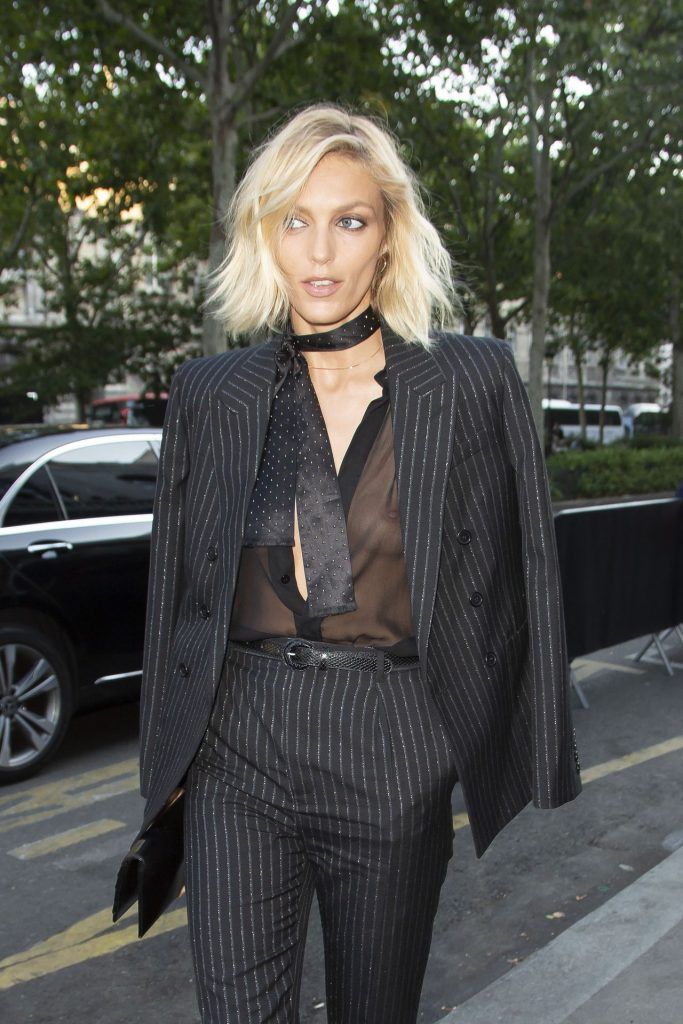 Trendy Blonde Anja Rubik Shows Her Tits in a See-Through Top gallery, pic 1