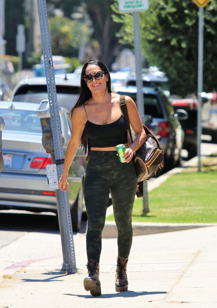 Fit Brunette Nikki Bella Showing Her Big Breasts in West Hollywood gallery, pic 15