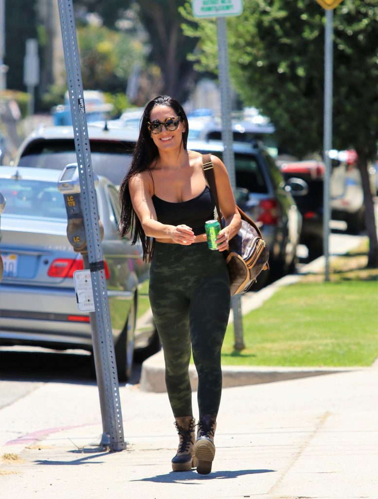 Fit Brunette Nikki Bella Showing Her Big Breasts in West Hollywood gallery, pic 16