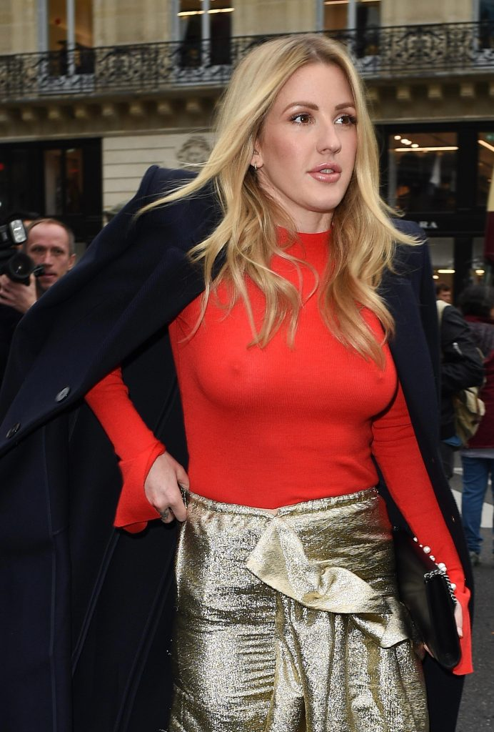 Blond-Haired Singer Ellie Goulding Shows Her Amazing Pokies in a Red Top gallery, pic 3
