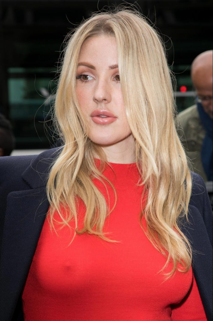 Blond-Haired Singer Ellie Goulding Shows Her Amazing Pokies in a Red Top gallery, pic 5