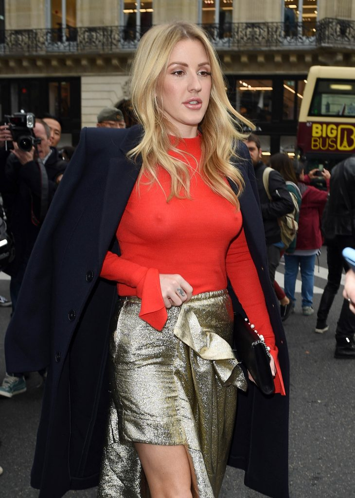 Blond-Haired Singer Ellie Goulding Shows Her Amazing Pokies in a Red Top gallery, pic 6